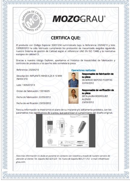 certificado de calidad de implantes dentales sevilla