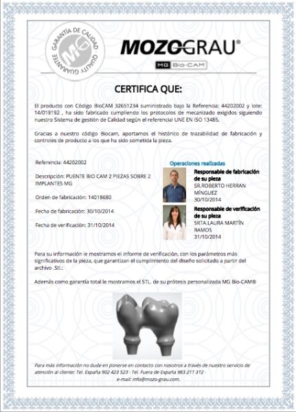 Certificado de calidad de implantes dentales en sevilla