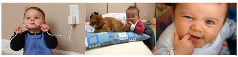 bebé con molestias en la boca mordiendo un cable