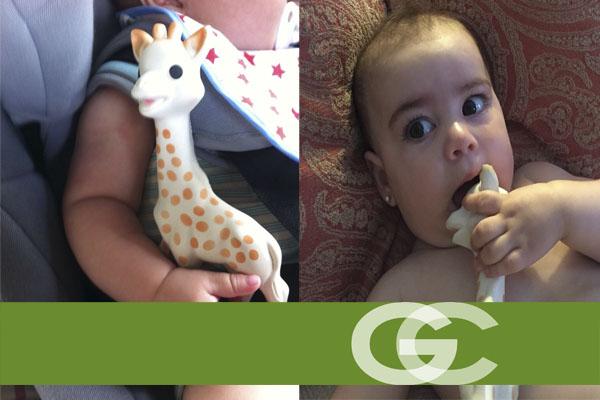 jirafa sophi con bebés, mordedor, alivia la salida de los primeros dientes de tu bebé